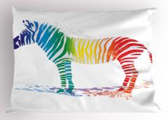 Rengarenk Zebra Desenli Yastık Kılıfı Beyaz Fonlu