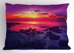 Deniz Kıyısında Gün Batımı Temalı Yastık Kılıfı Mor