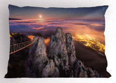 Gece ve Dolunay Manzaralı Yastık Kılıfı Gökyüzü Bulut