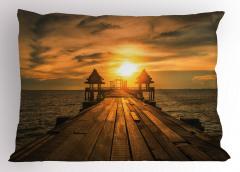 Köprüde Gün Doğumu Temalı Yastık Kılıfı Deniz Gökyüzü