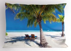 Egzotik Ada Manzaralı Yastık Kılıfı Palmiye ve Deniz