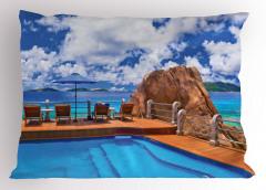 Issız Adada Yaz Temalı Yastık Kılıfı Deniz ve Gökyüzü