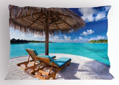 Issız Adada Tatil Temalı Yastık Kılıfı Deniz ve Bulut