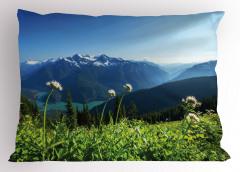 Göl Manzaralı Yastık Kılıfı Karlı Dağ ve Orman Temalı