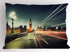 Londra'da Akşam Temalı Yastık Kılıfı Big Ben İngiltere