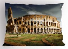 Kolezyum ve Gökyüzü Manzaralı Yastık Kılıfı Roma