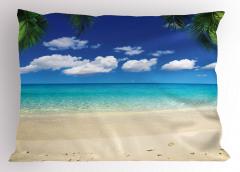 Egzotik Kumsal Temalı Yastık Kılıfı Bulut Palmiye