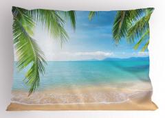 Tropikal Plaj Temalı Yastık Kılıfı Kumsal ve Deniz