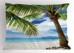 Beyaz Kumlu Plaj Temalı Yastık Kılıfı Tropikal Ada