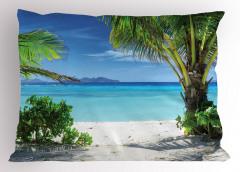 Tropikal Issız Ada Temalı Yastık Kılıfı Turkuaz Deniz