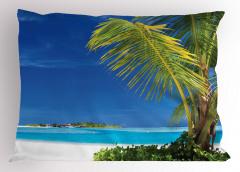 Issız Cennet Temalı Yastık Kılıfı Egzotik Ada Palmiye