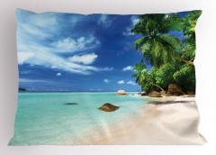 Tropikal Ada Temalı Yastık Kılıfı Kumsal Deniz Palmiye