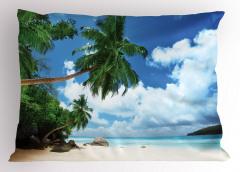 Ada ve Gökyüzü Manzaralı Yastık Kılıfı Palmiye Kumsal