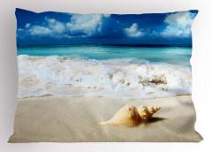 Dalga ve Deniz Kabuğu Temalı Yastık Kılıfı Manzaralı