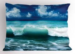 Okyanus Dalgaları Temalı Yastık Kılıfı Turkuaz Gökyüzü