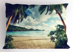 Egzotik Kumsal ve Bulut Temalı Yastık Kılıfı Deniz
