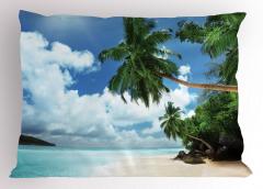 Egzotik Kumsal Manzaralı Yastık Kılıfı Palmiyeli
