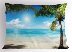 Egzotik Adada Yaz Coşkusu Temalı Yastık Kılıfı Deniz