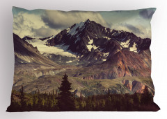 Karlı Dağlar Manzaralı Yastık Kılıfı Kış Temalı Bulut