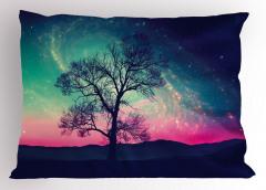 Uzay Temalı Yastık Kılıfı Ağaç ve Rengarenk Gökyüzü