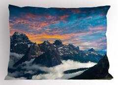 Dağ ve Gökyüzü Manzaralı Yastık Kılıfı Bulutlar
