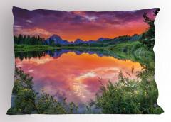 Nehirde Kızıl Gün Batımı Manzaralı Yastık Kılıfı