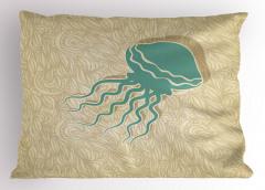 Denizanası Desenli Yastık Kılıfı Deniz Temalı Su Altı