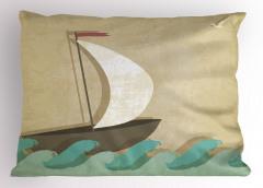 Dalgalar ve Yelkenli Çizimli Yastık Kılıfı Kahverengi