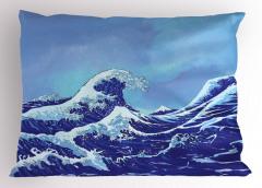 Lacivert Dalgalı Yastık Kılıfı Geleneksel Japon Çizimi