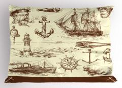 Denizcilik Temalı Yastık Kılıfı Elle Çizim Yelkenli