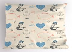 Mavi Saçlı Deniz Kızı Desenli Yastık Kılıfı Balık