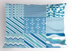 Mavi Kumaş Desenli Yastık Kılıfı Çizgili Marin Temalı