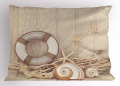 Deniz Kabuğu Desenli Yastık Kılıfı Can Simidi Sepya