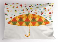 Renkli Üçgen Yağmuru Desenli Yastık Kılıfı Şemsiyeli