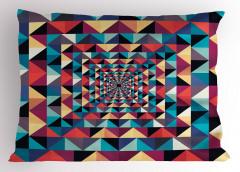 Geometrik Retro Desenli Yastık Kılıfı Rengarenk
