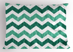 Yeşil Zikzak Temalı Yastık Kılıfı Geometrik Desenli