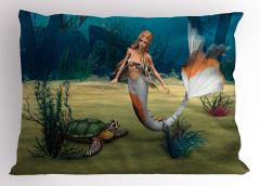 Deniz Kızı ve Kaplumbağa Desenli Yastık Kılıfı 3D