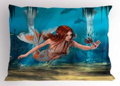Çiçekli Deniz Kızı Desenli Yastık Kılıfı Mavi 3D
