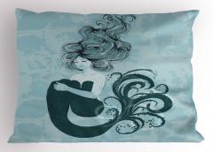 Uyuyan Deniz Kızı Desenli Yastık Kılıfı Masal Temalı