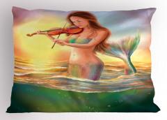 Keman Çalan Deniz Kızı Desenli Yastık Kılıfı Fantastik