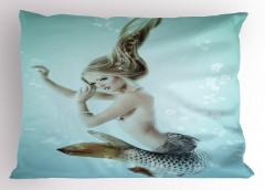 Sarı Saçlı Deniz Kızı Baskılı Yastık Kılıfı Mavi