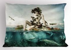 Deniz Kızı ve Kuş Desenli Yastık Kılıfı Balıklar