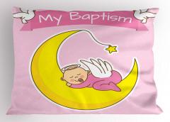 Ayın Üzerinde Uyuyan Bebek Yastık Kılıfı Vaftiz Temalı