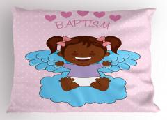 Melek Kız Bebek ve Bulut Yastık Kılıfı Vaftiz Temalı