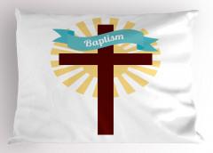 Kutsal Haç ve Vaftiz Desenli Yastık Kılıfı Beyaz Sarı