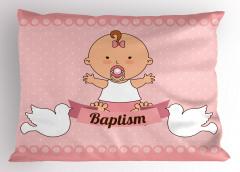 Emzikli Kız Bebek Desenli Yastık Kılıfı Vaftiz Temalı