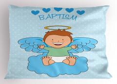 Melek Bebek ve Bulut Desenli Yastık Kılıfı Vaftiz