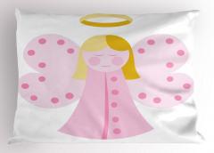 Kelebek Kanatlı Melek Kız Desenli Yastık Kılıfı Pembe