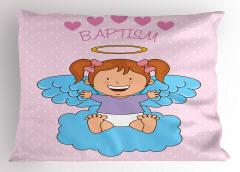 Bebek Melek ve Bulut Desenli Yastık Kılıfı Pembe Mavi