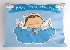 Çocuk Melek ve Bulut Desenli Yastık Kılıfı Mavi
